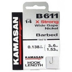 Kamasan B611 Barbed X Strong Wide Gape Nickel Hooks To Nylon - All Sizes