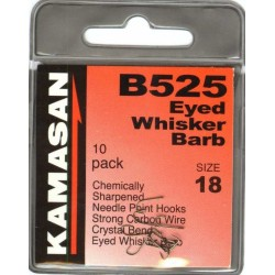 Kamasan B525 Eyed Whisker Barbed Hooks - All Sizes