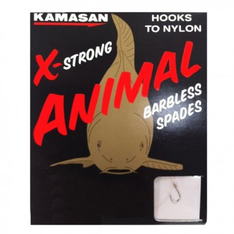 Kamasan Animal X Strong Barbless Spade End Hooks To Nylon - All Sizes